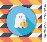 ghost flat icon with long... | Shutterstock .eps vector #423272656