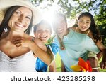 leisure holiday vacation family ... | Shutterstock . vector #423285298