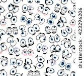 funny comics eyes seamless... | Shutterstock .eps vector #423296206