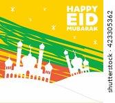 happy eid mubarak. muslim... | Shutterstock .eps vector #423305362
