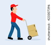 simple cartoon of delivery man... | Shutterstock .eps vector #423307396