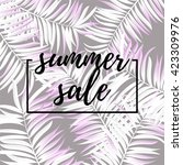 palm leaf white color. summer... | Shutterstock .eps vector #423309976