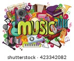 vector illustration of doodle... | Shutterstock .eps vector #423342082