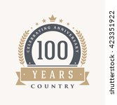 100 years anniversary label ... | Shutterstock .eps vector #423351922