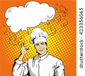 chef with speech bubble shows... | Shutterstock .eps vector #423356065