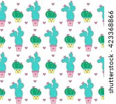 cactuses seamless pattern on a... | Shutterstock .eps vector #423368866