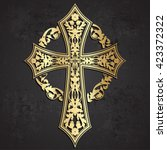 Ornamental Golden Cross With...