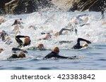 triathlon competitors in swim... | Shutterstock . vector #423383842