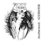 portrait of a girl in wolfs... | Shutterstock .eps vector #423384508