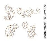 Cartoon Cute Chameleons Set....