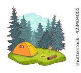hiking  camping and outdoor... | Shutterstock .eps vector #423404002