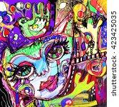 abstract digital contemporary... | Shutterstock .eps vector #423425035