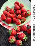 strawberries on the plate   Shutterstock . vector #423434062