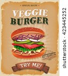 grunge and vintage vegetarian...   Shutterstock .eps vector #423445252