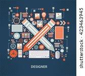 designer concept design on dark ... | Shutterstock .eps vector #423463945