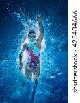 Front Crawl Swimmer. Underwate...