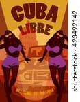 welcome to cuba retro poster.... | Shutterstock .eps vector #423492142