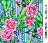 colorful mexican floral pattern ... | Shutterstock . vector #423501016