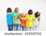 group of multiracial funny... | Shutterstock . vector #423505702