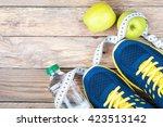 sport shoes  bottle of water ... | Shutterstock . vector #423513142