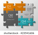four piece flat puzzle round... | Shutterstock .eps vector #423541606