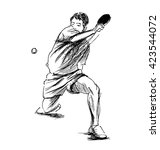 hand sketch table tennis player.... | Shutterstock .eps vector #423544072