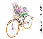 watercolor bicycle with flowers ... | Shutterstock . vector #423554812