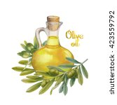 watercolor green olives in the... | Shutterstock . vector #423559792