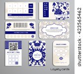 set of loyalty cards. floral... | Shutterstock .eps vector #423565462