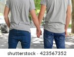 Homosexual Couple Outside  Hol...