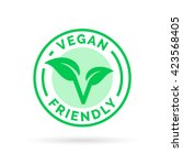 vegan friendly icon badge... | Shutterstock .eps vector #423568405