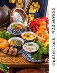 oriental soups on the table... | Shutterstock . vector #423569332