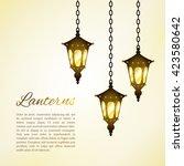 street lanterns. shining... | Shutterstock .eps vector #423580642