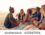 group of friends relaxing at a... | Shutterstock . vector #423587056