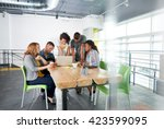 multi ethnic group of succesful ... | Shutterstock . vector #423599095