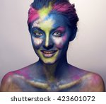 beauty woman with creative make ... | Shutterstock . vector #423601072