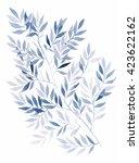 watercolor deep blue wood... | Shutterstock . vector #423622162