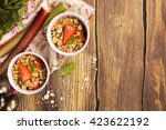 crumble with strawberry ... | Shutterstock . vector #423622192