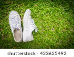 White Shoes  On A Background O...
