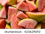fresh guava fruit with leaves... | Shutterstock . vector #423629692