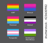 set of lgbtqa pride flags.... | Shutterstock .eps vector #423630982