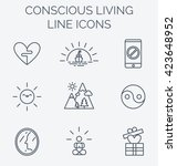 trendy line icons set of... | Shutterstock .eps vector #423648952