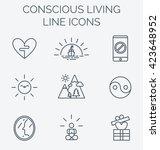 trendy line icons set of... | Shutterstock .eps vector #423648952