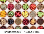 food selection for cold and flu ... | Shutterstock . vector #423656488