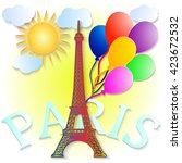 eiffel tower with colorful...   Shutterstock .eps vector #423672532