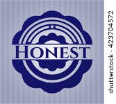 honest emblem with jean texture | Shutterstock .eps vector #423704572