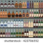 supermarket shelves with...   Shutterstock .eps vector #423706552