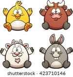 cartoon farm animals. vector... | Shutterstock .eps vector #423710146