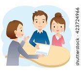 insurance agent presenting a... | Shutterstock . vector #423724966