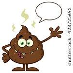 funny poop cartoon character... | Shutterstock .eps vector #423725692